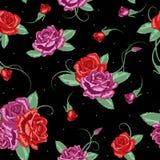 背景玫瑰无缝的向量 库存图片
