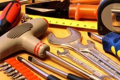 背景现有量用工具加工木 图库摄影