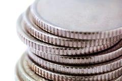 背景现金硬币查出货币白色 免版税库存图片
