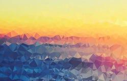 背景现代纹理三角几何皱的五颜六色的日落谷 图库摄影