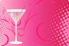背景玻璃半音马蒂尼鸡尾酒粉红色 免版税库存图片