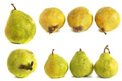 背景玻璃梨s基体白色 在被隔绝的背景的水多的鲜绿色和黄色梨 库存照片