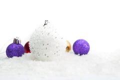 背景球圣诞节复制例证空间三白色 图库摄影