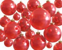 背景球圣诞节查出的红色发光 库存图片