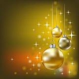背景球圣诞节金黄星形 免版税图库摄影