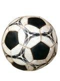 背景球坏的查出的老足球白色 库存照片