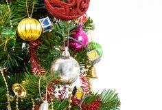 背景球明亮的圣诞节装饰结构树白色 库存图片