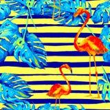 背景球海滩美好的空的夏天排球 水彩无缝的样式 与夏威夷树的手画热带夏天主题 库存图片