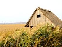 背景瑞士山中的牧人小屋老木 免版税库存照片