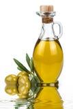 背景瓶查出的油橄榄色白色 库存照片