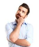 背景生意人偶然白种人特写镜头copyspace查出看起来男性认为空白年轻人的人设计沉思纵向 库存照片
