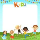 背景用不同的孩子的动画片例证和您的文本的空的地方 库存例证