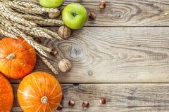 背景用南瓜、坚果、麦子的苹果和耳朵在老 库存照片