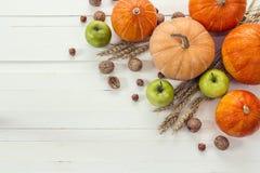 背景用南瓜、坚果、麦子的苹果和耳朵在wh的 库存照片