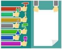 背景用手和工具 免版税图库摄影
