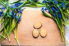 背景用曲奇饼复活节彩蛋形状在蓝色snowdrops的在采取曲奇饼的一只木砧板和小孩子的手上 库存图片