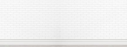 背景用法的老白色砖墙纹理作为背景宽银幕横幅设计大模型 免版税库存照片