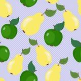 背景用苹果和梨 免版税库存照片