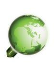 背景电灯泡地球eco查出的轻的白色 库存照片
