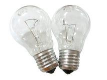 背景电灯泡查出的闪亮指示二白色 库存照片