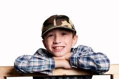 背景男孩我微笑的白色 免版税库存图片
