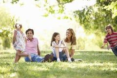 背景男孩拥抱的系列父亲女孩他的小人母亲公园池塘妻子 免版税库存图片