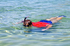 背景男孩潜水查出屏蔽水肺微笑的白色 库存图片