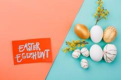 背景男孩逗人喜爱的复活节彩蛋蛋新草绿色隐藏的搜索查出搜索白色 免版税库存照片