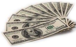 背景的一百元钞票 库存图片