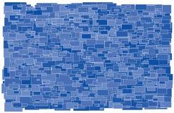 背景由各种各样的大小和树荫蓝色rec制成 库存照片