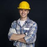 一位年轻建造者的画象 库存照片