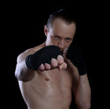 黑背景的拳击手 免版税库存照片