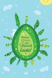 背景看板卡五颜六色的复活节彩蛋问候节假日 库存照片