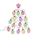 背景看板卡圣诞节诗歌选例证向量 与滑稽的面孔的乐趣电灯泡 风格化圣诞树形状 库存例证