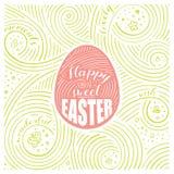 背景看板卡绿色风信花叶子百合Spring Valley 字法-甜复活节快乐 复活节设计 手写的漩涡样式 皇族释放例证