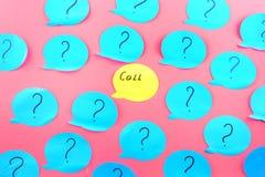 背景看板卡问候页贴纸模板普遍性万维网 词在一个黄色贴纸写的电话,在绿松石纸的问号中 库存照片