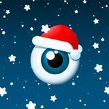 背景眼珠圣诞老人下雪 免版税库存图片