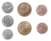 背景硬币查出俄国白色 免版税库存图片