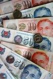 背景硬币货币美元以为特色查出lochnera货币一玫瑰色新加坡白色 免版税库存图片