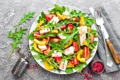 背景碗鸡查出荷兰芹桃子片米沙拉白色 肉沙拉用新鲜的蕃茄、甜椒、芝麻菜和烤鸡胸脯鸡内圆角有新鲜蔬菜的 免版税库存照片