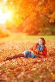 背景秋天树风景叶子的秋天妇女  女孩 库存照片