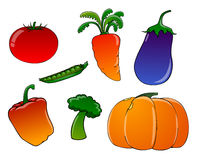 背景空白动画片的蔬菜 免版税库存照片