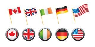 背景空白国旗的针 免版税库存照片