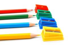 背景空白的铅笔刀 库存图片