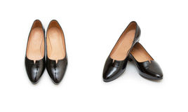背景穿上鞋子白人妇女 免版税库存图片
