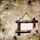 背景竹框架葡萄酒 库存照片