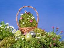背景篮子复活节空间文本 图库摄影