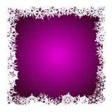背景紫色雪花正方形 免版税库存照片
