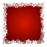 背景红色雪花正方形 免版税图库摄影
