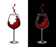 背景红色飞溅白葡萄酒 免版税库存照片